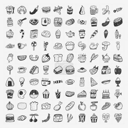 Photo pour Doodle icônes alimentaires ensemble - image libre de droit