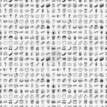 Photo pour Modèle de nourriture doodle sans couture - image libre de droit