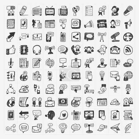 Illustration for Doodle communication icons set - Royalty Free Image