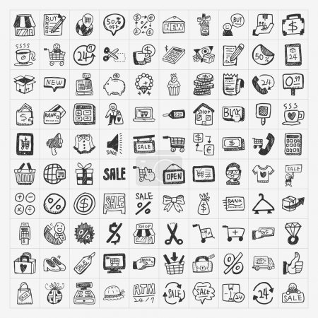 Illustration for Doodle shopping icons set - Royalty Free Image