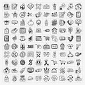 Doodle nakupování ikony nastavit