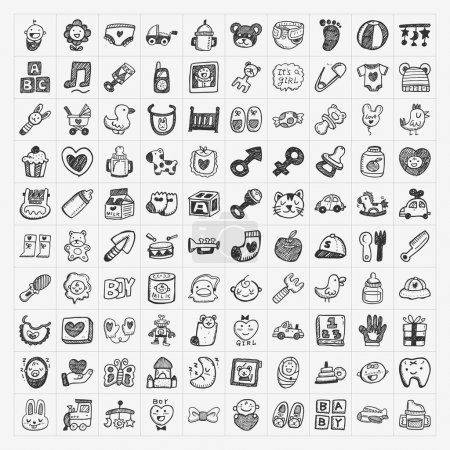 Illustration for Doodle baby icon sets - Royalty Free Image