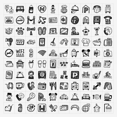 Illustration for Doodle hotel icons set - Royalty Free Image