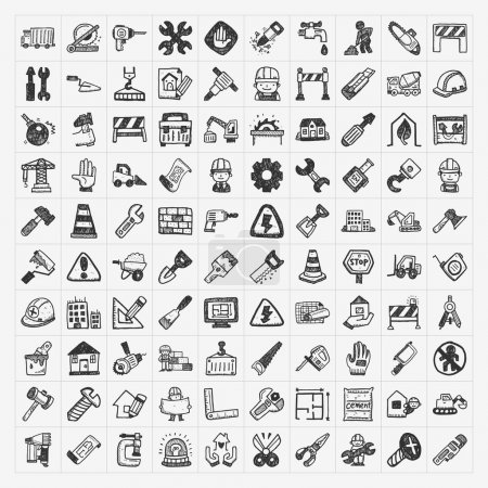 Illustration for Doodle construction icons - Royalty Free Image