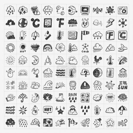 Illustration pour Doodle icônes météo ensemble - image libre de droit