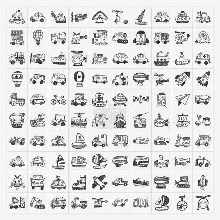 Illustration pour Ensemble d'icônes de transport doodle - image libre de droit