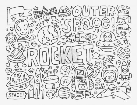 Illustration for White doodle space element - Royalty Free Image