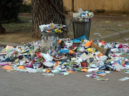 Trash bin overloaded