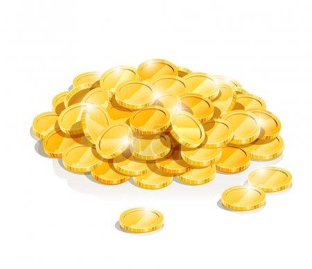 Illustration pour Illustration vectorielle en tas de pièces d'or isolée sur fond blanc EPS10. Objets transparents et masques d'opacité utilisés pour le dessin d'ombres et de lumières - image libre de droit