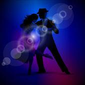 Vector design with couple dancing tango on dark background