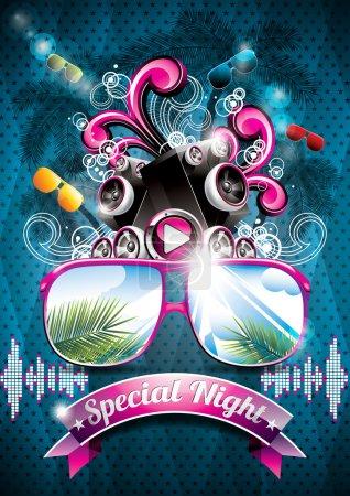 Foto de Vector verano diseño flyer fiesta de playa con altavoces y gafas de sol sobre fondo azul. Eps10 ilustración - Imagen libre de derechos
