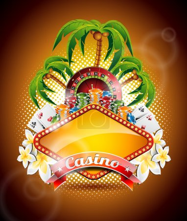 Vector illustration on a casino theme with roulette wheel and ribbon.