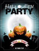 Vector illustration on a Halloween Party theme With pumkins