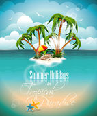 Vector illustration on a summer holiday theme with paradise island on sea background