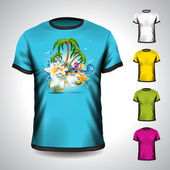 Vector t-shirt set on a summer holiday theme with palm tree