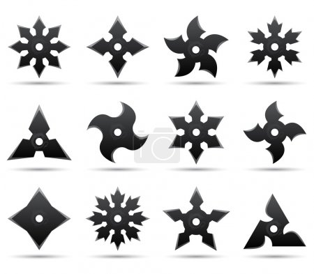 Illustration for Twelve different ninja stars - Royalty Free Image