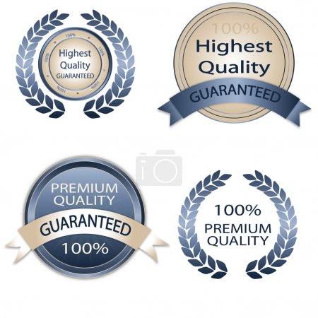 Illustration for White and blue Premium Quality Labels - Royalty Free Image