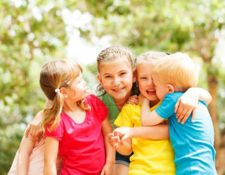 Photo for Group Of Children Smiling In Park - Royalty Free Image
