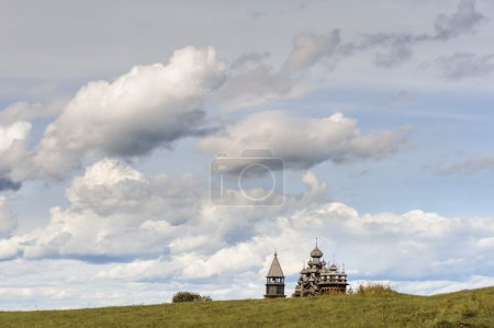 Wooden church at Kizhi against dramatic cloudscape