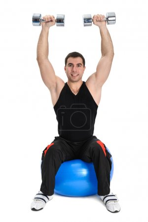 Dumbbell Shoulder Press on stability ball