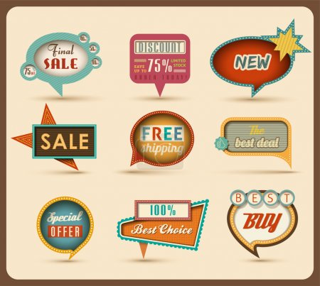 Illustration for The new retro speech bubbles/signs collection Vector Illustration - Royalty Free Image