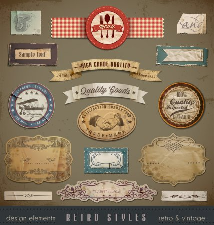 Illustration for Useful design elements, old papers, labels in retro and vintage style. - Royalty Free Image