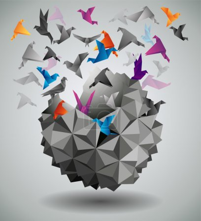 Illustration for Origami abstract vector illustration - Royalty Free Image