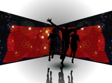 Illustration vectorielle d'un homme gagnant une course devant des drapeaux chinois miroirs