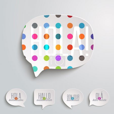 Illustration for Hello and Welcome speech bubble in different languages - Royalty Free Image