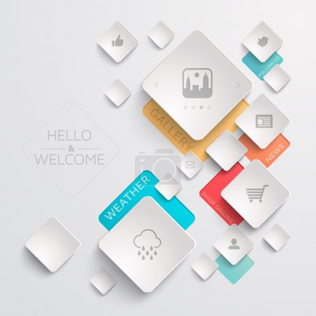 Illustration for Geometric web template with various icons - Royalty Free Image