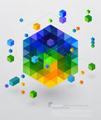 Colorful isometric cube over light background