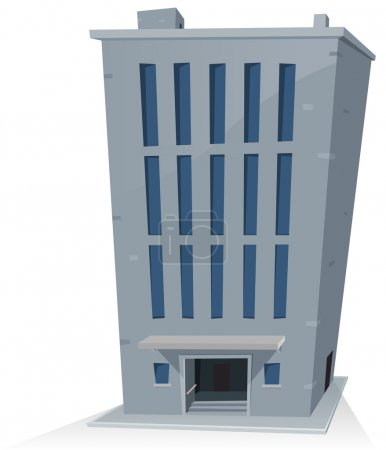 Illustration for Illustration of a cartoon office building tower with long high vertical windows - Royalty Free Image