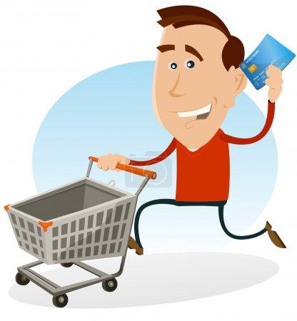 Illustration pour Illustration d'un homme heureux de dessin animé courant et tenant sa carte de crédit tout en poussant un chariot roulant sur le marché du centre commercial - image libre de droit
