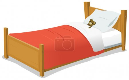 Cartoon Bed With Teddy Bear