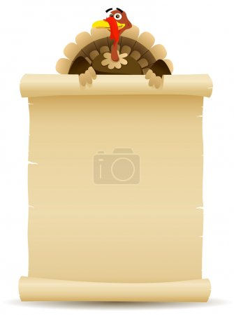 Illustration for Illustration of a cartoon turkey character holding parchment scroll menu for thanksgiving holidays and white meat food background - Royalty Free Image