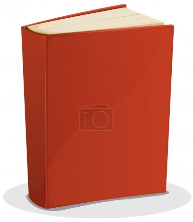 Illustration of a cartoon standing blank red cover...