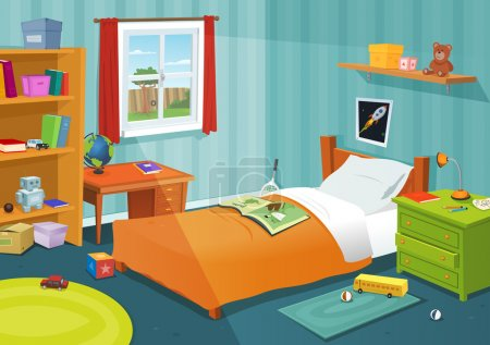 Photo for Illustration of a cartoon children bedroom with boy or girl lifestyle elements, toys, bed, books, desk, bookshelf, teddy bear - Royalty Free Image