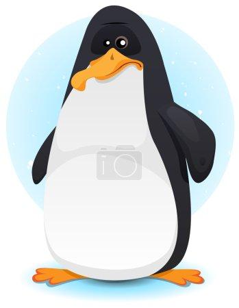Illustration pour Illustration d'un personnage de pingouin minuscule de dessin animé sur la banquise d'hiver - image libre de droit