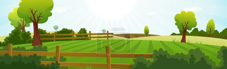 Illustration for Illustration of a spring or summer season agriculture and farming wide landscape with fields, pasture, meadows, hedges, fences, trees, lawn and grass for dairy cows - Royalty Free Image