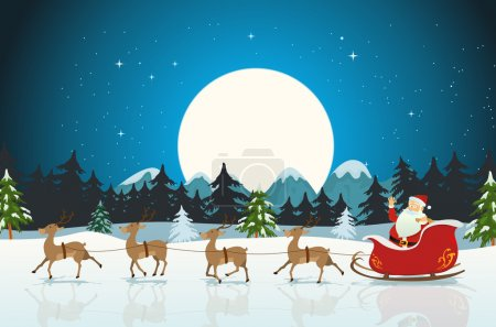 Illustration pour Illustration d'un personnage de santa claus drôle de dessin animé conduisant le traîneau de Noël avec son renne courir sur la neige d'hiver - image libre de droit