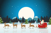 Illustration of a funny cartoon santa claus character driving the christmas sleigh with his reindeer running on the winter snow