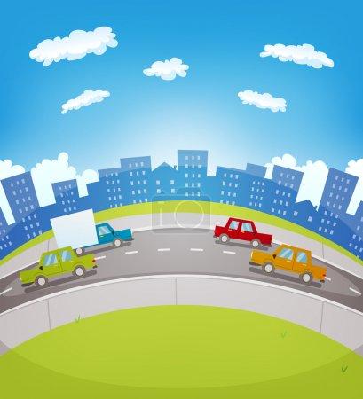 Illustration pour Illustration d'un dessin animé circulation routière urbaine dans la ville avec des voitures et des camions conduisant le long de la route - image libre de droit
