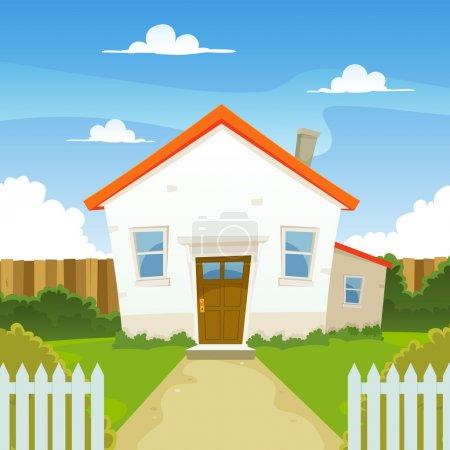 Illustration pour Illustration d'une maison de dessin animé au printemps ou en été, avec jardin arrière-cour, clôture et haies - image libre de droit