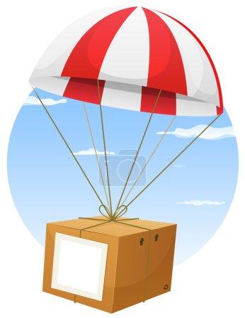 Ilustración de Ilustración de una caricatura del paracaídas sosteniendo y entregando la caja de cartón de envío del aire, con fondo blanco vacío del signo y el cielo - Imagen libre de derechos
