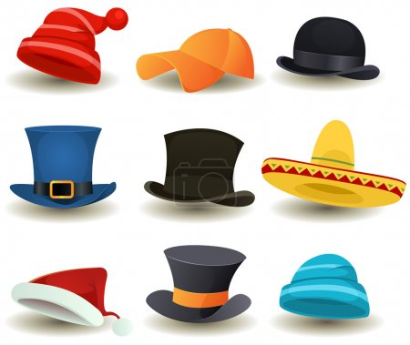 Illustration for Illustration of a set of cartoon top or derby hats, baseball sport winter caps, sombreros and other headwear clothes equipment - Royalty Free Image