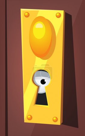 Eye Spying Behind Door Keyhole