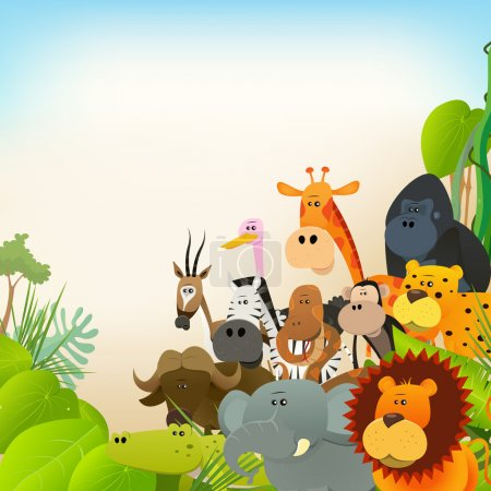 Illustration for Illustration of cute various cartoon wild animals from african savannah, including lion, gorilla, elephant, giraffe, gazelle, monkey and zebra with jungle background - Royalty Free Image