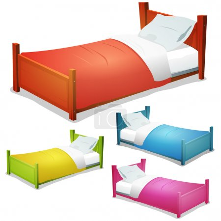 Illustration for Illustration of a set of cartoon wood children beds for boys and girls with pillows and cover - Royalty Free Image