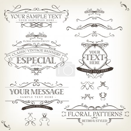 Illustration for Illustration of a set of retro labels, frames, sketched banners, floral patterns, ribbons, and graphic design elements on vintage old paper background - Royalty Free Image