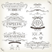 Illustration of a set of retro labels frames sketched banners floral patterns ribbons and graphic design elements on vintage old paper background